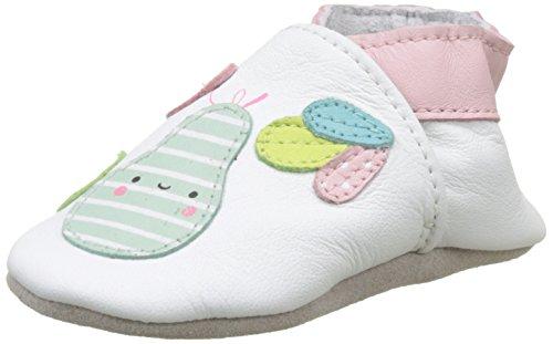 Robeez Unisex Baby Pear Summer Krabbelschuhe Weiß (Blanc)