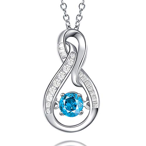 Caperci Sterling Silver Blue Topaz Infinity Pendant Necklace for Women Cubic Zirconia Frame, 18''