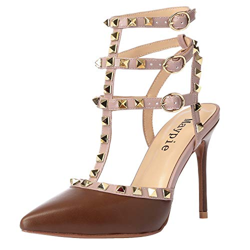 MAYPIE Studded Heels Women Sexy Pointed Toe Rivets Pumps Slingback Ankle Strap Stiletto Sandals Shoes 3.94 Inches, Brown PU, 10 B(M) US ()