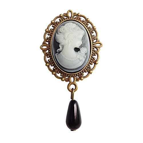 Vintage Brooch For Women Alloy Metal Beauty Picture Black Drop Beads - Black Beads Vintage