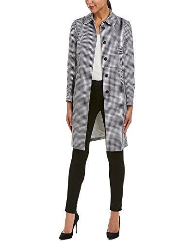 Anne Klein Women's Gingham Coat Black/Optic White (Anne Klein Womens Trench Coat)