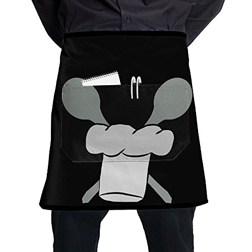 Kochhaube 3 Farbig Neuer Style Short Bistro Half Aprons for Men Women, 17x21 inches, Black