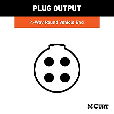 CURT 58070 Vehicle-Side 4-Way Round Trailer Wiring Harness Socket, 4-Pin Trailer Wiring: Automotive