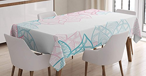 CHARMHOME Floral Cotton Linen Tablecloth, Dining Room Kitchen Rectangular Table Cover 60(W) X60(L) inchInch, Large Flower Petal In Pastel Tone Elegance Spring Beauty Embellished Design