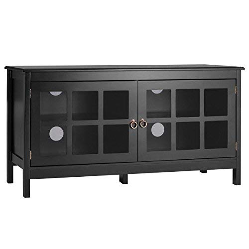 "TANGKULA 50"" TV Stand Modern Wood Storage Console Entertainment Center w/ 2 Doors Black"