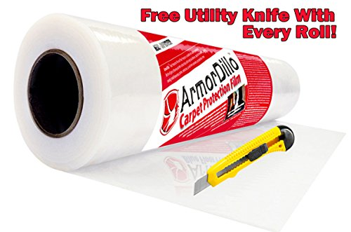 ArmorDillo Strong - 100% Made in U.S.A. 24'' x 200' Carpet Protection Film. Strongest, Easiest To Use Carpet Cover, Clear Protective Film, Surface Protection Film, Paint Protection Film by ArmorDillo