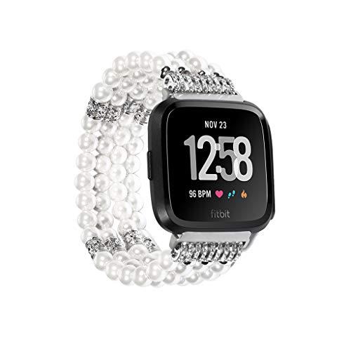 - for Fitbit Versa Smart Watch Women Bling Accessory Carnelian Wrist Band Bangle Strap for Fitbit Versa Girl Flexible Carnelian Beads Bracelet Wrist Band Strap Wa -White Pearl