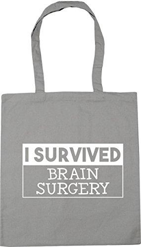 HippoWarehouse I survived brain surgery Tote Shopping Gym Beach Bag 42cm x38cm, 10 litres Light Grey