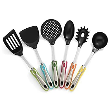 RSG Kitchenware - 7 PC Colorful and Stylish Kitchen Utensil Set with Rotating Holder – Large Nylon Heads and Stainless Steel Core