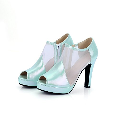 1to9 Signore Cerniera Tacco Alto Banchetto Pompe In Poliuretano-scarpe Verde Chiaro