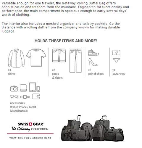 db07f57a11b6 SWISSGEAR Getaway Weekend Wheeled 19-inch Duffel Bag   Rolling Travel  Luggage   Men's and Women's - Dark Gray - Travel