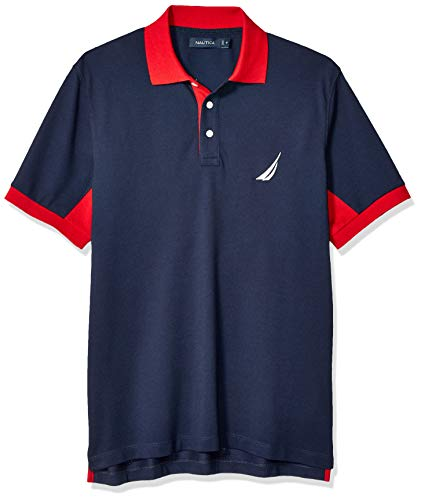 Nautica Men's Classic Fit Short Sleeve Performance Pique Polo Shirt, Navy, -
