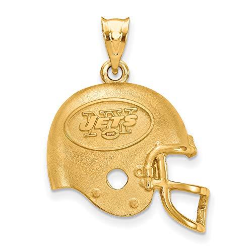 NFL Sterling Silver Gold-plated LogoArt New York Jets Football Helmet Pendant ()