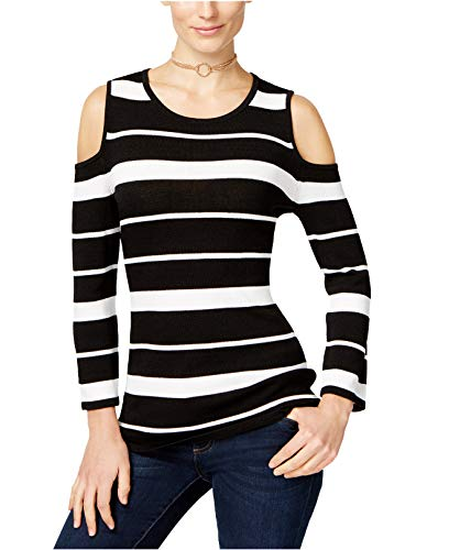 INC International Concepts Women's Striped Cold-Shoulder Sweater (Black/White, Large) from INC International Concepts