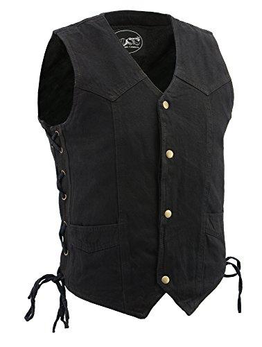 M-Boss Motorcycle Apparel-BOS13003-BLACK-Men's Denim Snap Front Side Lace Vest w/Exterior Gun Pocket-BLACK-4XL