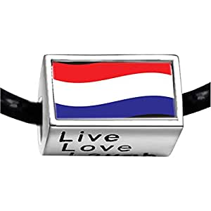 Chicforest Silver Plated Netherlands Flag Photo Live Love Laugh Charm Beads Fits Pandora Charms