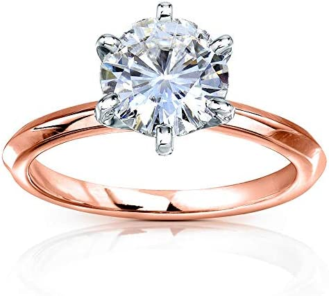 Kobelli Classic Solitaire Round Brilliant Moissanite Engagement Ring 2 Carats 14k Rose Gold (FG/VS)