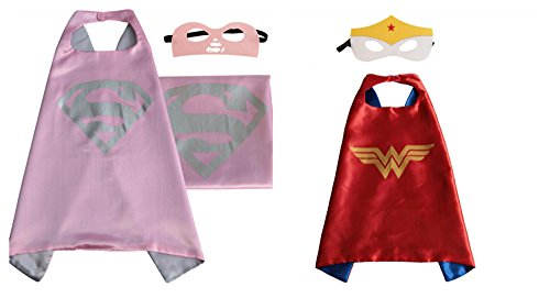 Athena Dress Up Supergirl u0026 Wonder Woman 2 Capes and 2 Masks Gift Box Included  sc 1 st  Costume Overload & DC Comicsu0027 Supergirl Child Costumes for Halloween