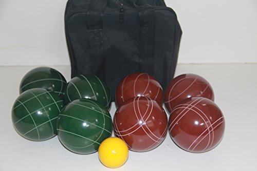 Premium Quality and American Made, 107mm EPCO Bocce Set - dark red and green balls and black bag by BuyBocceBalls