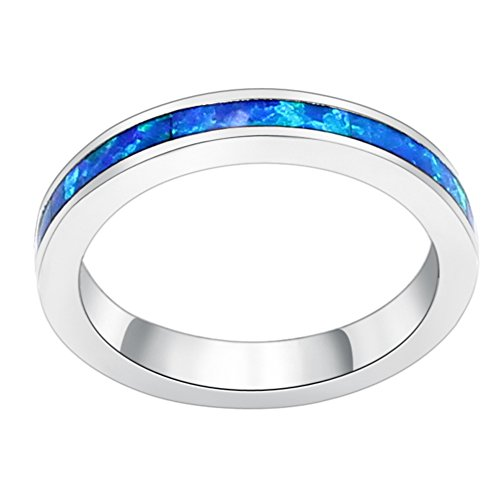 Sinlifu Eternity Ring Australia Fire Opal Silver Plated 3.5mm Wedding Band Jewelry for Women (Blue, 9)