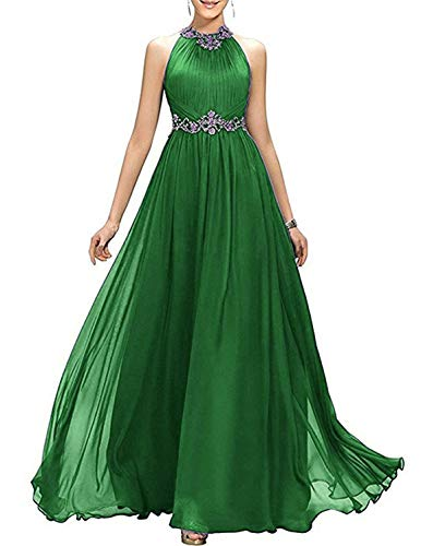 - Lady Dress Women's Halter Sequined Prom Dress Long A Line Chiffon Bridesmaid Dress Empire Beaded Evening Party Gowns CLZ117 Dark Green US4