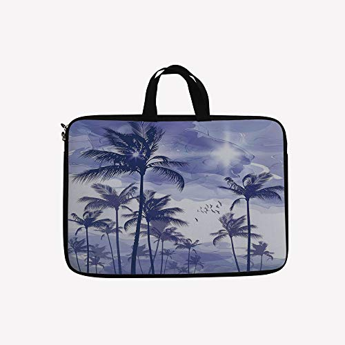 Case Laptop Beverly (3D Printed Double Zipper Laptop Bag,Trees at Beverly Hills Sunset on Windy Day,17 inch Canvas Waterproof Laptop Shoulder Bag Compatible with 17