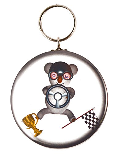 Mylar Driver (Funny Koala Race Car Driver Two-Side Mylar Shell Keychain + Magnet + Pin)