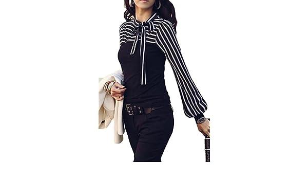 b56c3e79cbe7c8 Jmwss QD Women Fashion Stripe Patchwork Long Sleeve Shirt at Amazon Women s  Clothing store