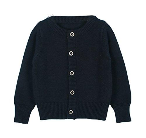Novelty Knit Jacket - Taiycyxgan Baby Girls Boys Knits Cardigan Sweater Crew Neck Button-down Sweater Jacket Solid Navy 80