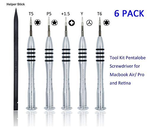 Kalanution 6 Pieces Tool Kit Pentalobe Screwdriver Macbook Air/Pro Retina ()