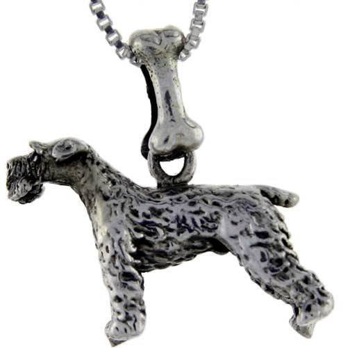 Kerry Dog Terrier Charm Blue (Sterling Silver Kerry Blue Terrier Dog Pendant Charm Jewelry Making Supply Pendant Bracelet DIY Crafting by Wholesale Charms)
