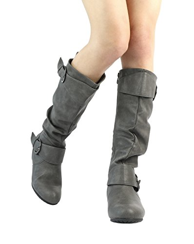 High Knee Women's PAIRS grey Hidden Wedge Ura wide Low Boots Calf Wide calf DREAM qE5txBw5
