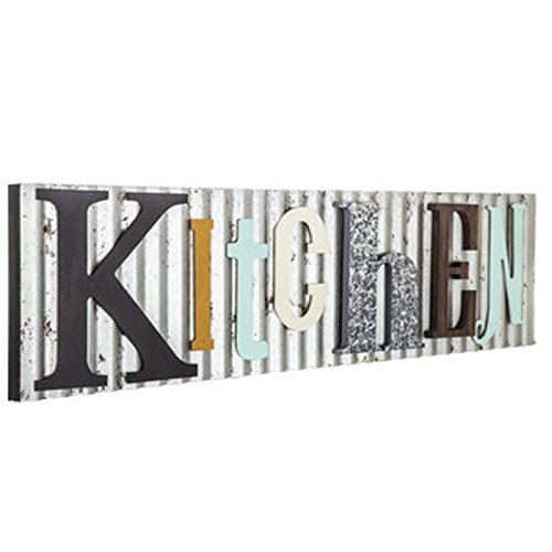Kitchen Corrugated Metal and Wood Colorful Sign Farmhouse Décor Galvanized Steel