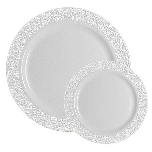 TTG 200-Piece Plastic Dinnerware Set | Lace Collection | (100) Dinner Plates & (100) Salad Plates | Heavy Duty Premium Plastic Plates for Wedding, Parties, Camping & More (White) for $<!--$66.14-->