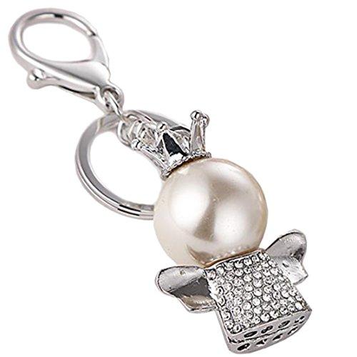 (Freedi Crystal Key Chain Sparking Keyring Clover Creative Angel Pearl Rhinestone Purse Bag Charm Pendant Gift for Girl Woman (Silver))
