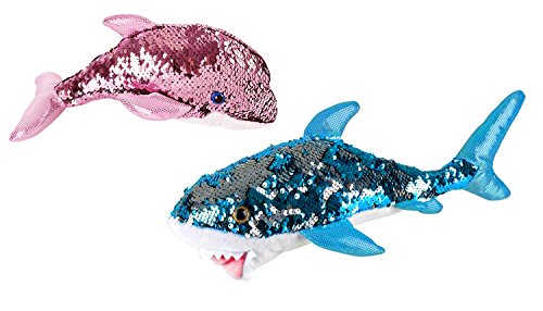 Sequinimals Sequin Sea Animals ~ Pink Dolphin & Great White Shark Set by Reversible Mermaid Sequins