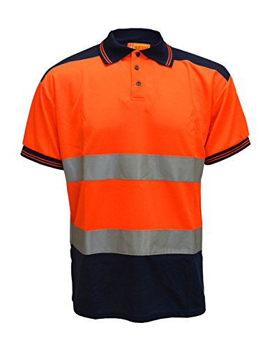 Forever Hi Viz Navy Collar Safety Work Wear High Visibility 2 Tone Polo T-Shirt