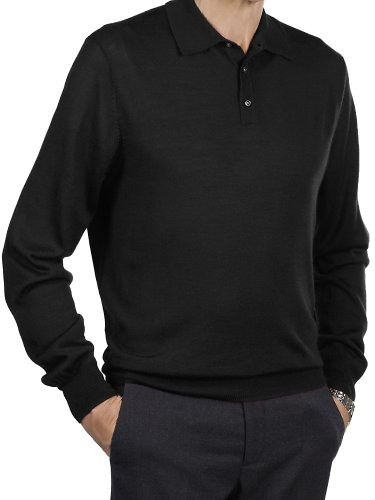 Paul Fredrick Men's Merino Wool Blend Polo Collar Sweater