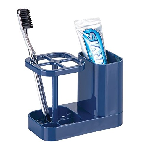 mDesign Bathroom Dental Center, Toothbrush and Toothpaste Holder - (Blue Toothbrush)