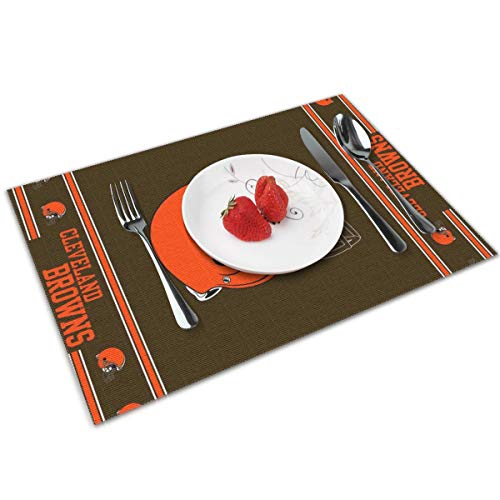 Gdcover Cleveland Browns Placemats Set of 4 for Dining Non-Slip Heat-resistand Washable Kitchen Table Mats - 12x18 Inches