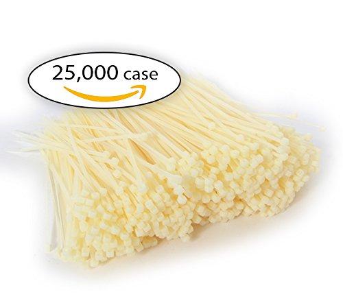 Case of Zip Ties. Case of 25,000 Cable Ties. White 5.5'' Industrial Grade Self-Locking Nylon Ties. 18 lb by Universal Packaging