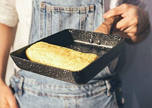 RSHJD Poêle antiadhésive, avec poignée Ergonomique Manche Déjeuner Cuit Grill à Steak BBQ