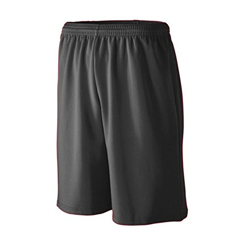 Augusta Athletic Longer Length Wicking Mesh Athletic Short - Youth, Black, Large by Augusta Athletic