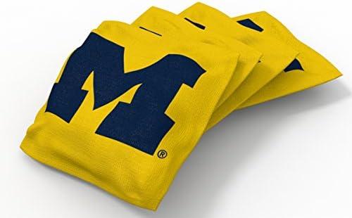 Wild Sports NCAA College Georgia Tech Yellow Jackets Yellow Authentic Cornhole Bean Bag Set 4 Pack