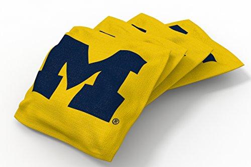 Wild Sports NCAA College Michigan Wolverines Yellow Authentic Cornhole Bean Bag Set (4 Pack)