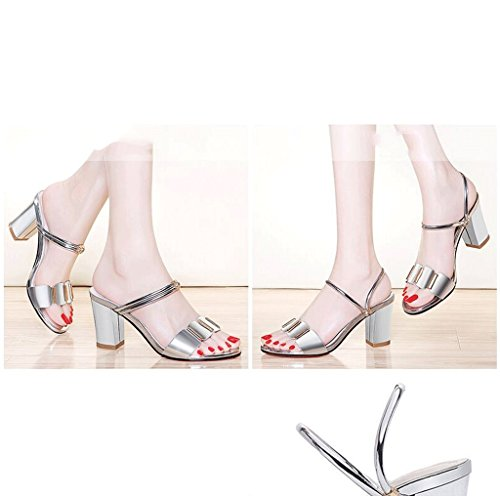 Gold High Heels Sandals Summer Ladies High Heels Elegant Roman Sandals (Color : Silver, Size : 38)