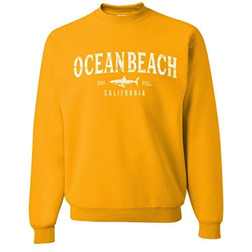 Dolphin Shirt Co Ocean Beach California Crewneck Sweatshirt - Gold (Beach Crewneck Sweatshirt)