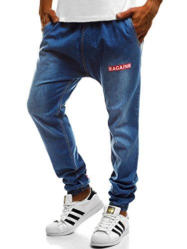 OZONEE Hombre Pantalones Vaqueros Pantalón Chándal Pantalones Deportivos Pantalones de Ocio Pantalón chándal Jogger Otantik 1805 Azul_ozonee-ot/2032