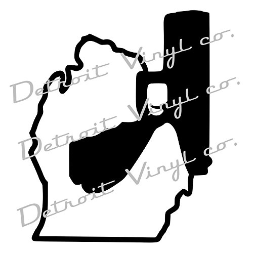 Michigan Holding Gun, Michigan Holding Pistol, Murder Mitten Decal Sticker for Car, Home, Computer (White) (Glock Pistol Stickers)