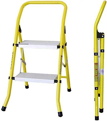 JLDN Escalera Plegable 2 Peldaños, Escalera Plegable escaleras de Tijera con Apoyabrazos Resistente y Ancha Antideslizantes Multiusos aleación de Aluminio,Yellow: Amazon.es: Hogar